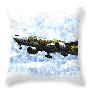 Air New Zealand Hobbit Boeing 777 Art Throw Pillow