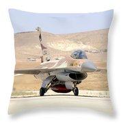 An Israeli Air Force F-16a Netz Taxiing Throw Pillow