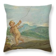 Angel Flying A Kite Throw Pillow