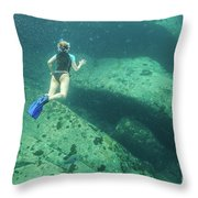 Apnea In Tropical Sea Throw Pillow