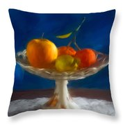 Apple, Lemon And Mandarins. Valencia. Spain Throw Pillow