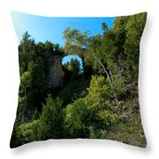 Arch Rock Mackinac Island Throw Pillow