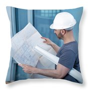 Architect Builder Studying Layout Plan Of The Room Throw Pillow