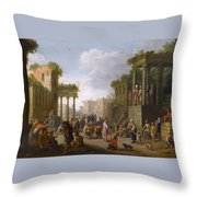 Architectural Ruin With A Crowd Throw Pillow