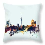 Auckland New Zealand Skyline Throw Pillow