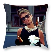 Audrey Hepburn @ Breakfast At Tiffanys Throw Pillow