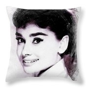 Audrey Hepburn, Vintage Actress Throw Pillow