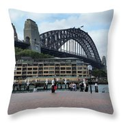 Australia - Sydney Harbour Bridge On Circular Quay Throw Pillow