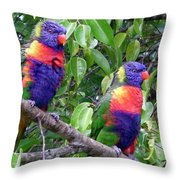 Australia - Two Brightly Coloured Lorikeets Throw Pillow