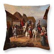 Austrian Cavalry Resting In A Village Throw Pillow