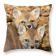 Baby Fox Kits Throw Pillow