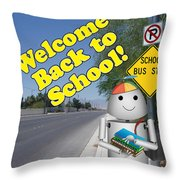 Back To School Little Robox9 Throw Pillow