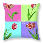 Background With Tulips Throw Pillow