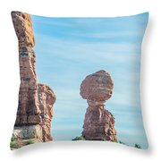 Balanced Rock In Arches National Park Near Moab  Utah At Sunset Throw Pillow
