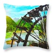 Bamboo Water Wheel Throw Pillow
