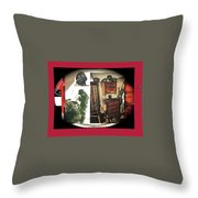 Barry Sadler And Part Of His Weapon's Nazi Memorabilia Collection Collage Tucson Arizona 1971-2013 Throw Pillow