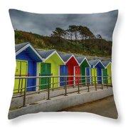 Beach Huts 1 Throw Pillow