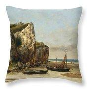 Beach In Normandy Throw Pillow