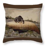 Bear And Canoe Throw Pillow
