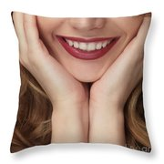 Beautiful Young Smiling Woman Throw Pillow