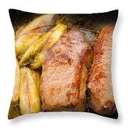 Beef Tenderloins With Endives Throw Pillow
