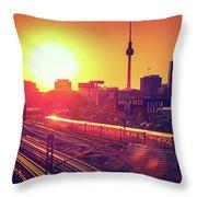 Berlin - Sunset Skyline Throw Pillow