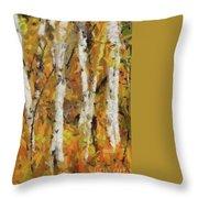 Birch Trees In Autumn Throw Pillow
