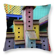 Birdhouses For Colorful Birds 3 Throw Pillow