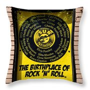 Birthplace Of Rock N Roll Throw Pillow