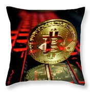 Bitcoin Coin L On Laptop Keyboard Throw Pillow