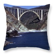 Bixby Creek Aka Rainbow Bridge Bridge Big Sur Photo  Throw Pillow