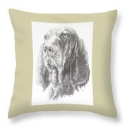 Black And Tan Coonhound Throw Pillow by Barbara Keith