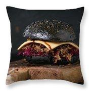 Black Burger With Stews Throw Pillow
