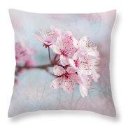 Black Cherry Plum Blossom Throw Pillow
