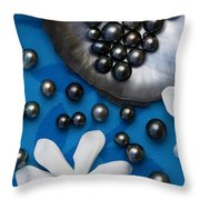 Black Pearls And Tiare Flowers Throw Pillow