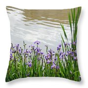Blue Daffodils Throw Pillow