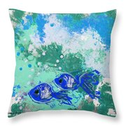 2 Blue Fish Throw Pillow