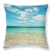 Pristine Blue Paradise Throw Pillow