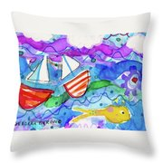 2 Boats And Yellow Fish Throw Pillow