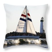 2 Boats Approach Throw Pillow