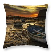 Boats On La Caleta Cadiz Spain Throw Pillow
