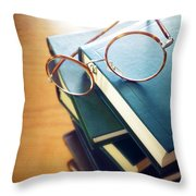 Books And Glasses Throw Pillow