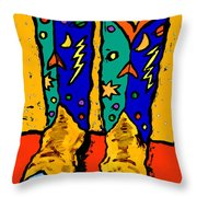 Boots On Yellow Throw Pillow