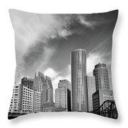 Boston Skyline 1980s Throw Pillow
