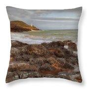 Bracelet Bay And Mumbles Lighthouse Throw Pillow
