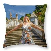 Braga Portugal Woman Throw Pillow