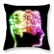 Brain Design By Cogs And Gears Throw Pillow