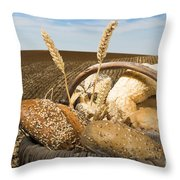 Bread And Wheat Cereal Crops. Throw Pillow