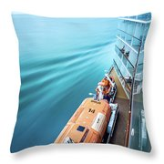 Browsing Around Cruise Ship On The Pacific Ocean Throw Pillow