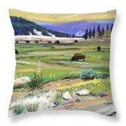 Buffaloes In Yellowstone Throw Pillow
